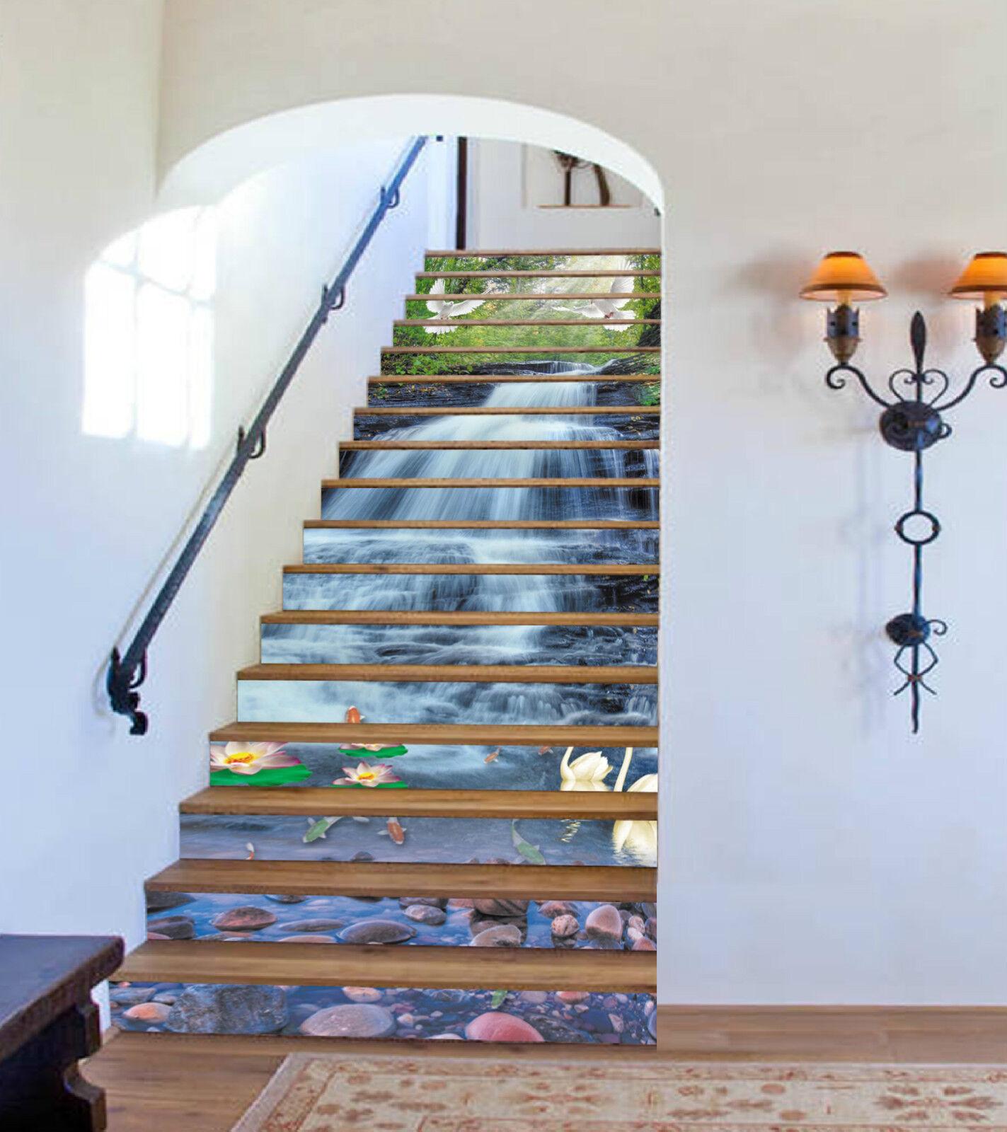 3D Fluss Vgel 050 Stair Risers Dekoration Fototapete Vinyl Aufkleber Tapete DE
