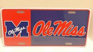 Ole Miss University Of Mississippi Go Rebels Metal Car Tag