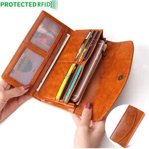 100-Genuine-Leather-Women-039-s-Long-Clutch-wallet-RFID-Blocking-ID-Card-Holder