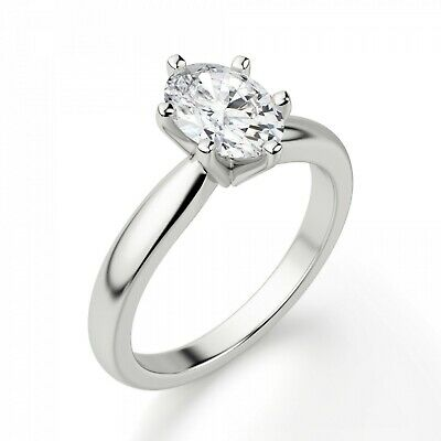 2.00 Oval Solitaire Diamond Wedding Party Bridal Ring 14k White Gold Size 7 Engagement & Wedding