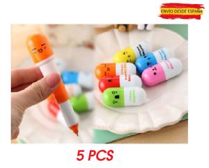 5x mini bolígrafo boli extensible con forma de píldora pastilla pill pen 11cm