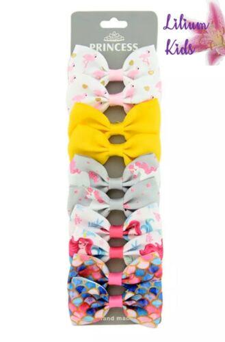 "Hair Bow Multipack -10 Pack Rainbow//Pastel Polka - 2.7/""- Unicorns 2x5 pairs"