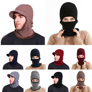 Image is loading Men-Women-Knitted-Beanie-Peaked-Balaclava-Thermal-Winter- 4b282e93aa
