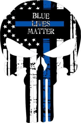 Various sizes Free Ship Punisher Skull Blue Lives Matter Window Decal