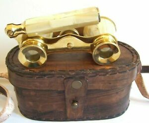 Vintage brass binocular classic glasses mother of pearl binocular W// leather box