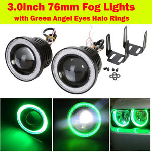 76mm White LED Projector Fog Light Lamp COB Halo Angel Eye Ring For Nissan