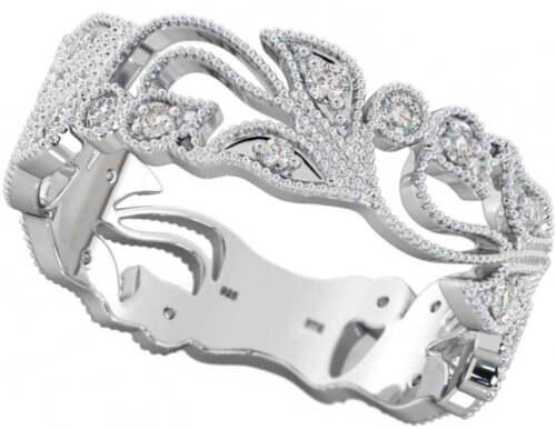 Ladies filigree cubic zirconia Sterling silver wedding ring