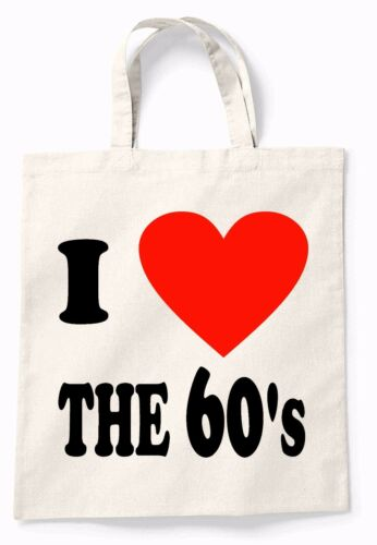 I Love The 60/'s Canvas Tote Shopping Bag Cotton Secret Santa Shopper Gift