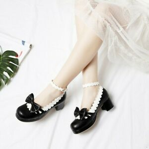 New-Women-039-s-Round-Toe-Bowknot-Block-Heels-Shoes-Lolita-Gril-Mary-Janes-Pumps
