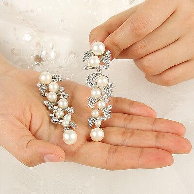 Bridal Bridesmaid Flower Leaf Clear Austrian Crystal Pearl Dangle Earrings E085