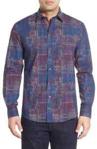 BUGATCHI-Shaped-Fit-Print-Sport-Shirt-NWT-Blue-red-white