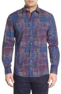 BUGATCHI-Shaped-Fit-Print-Sport-Shirt-NWT-Blue-red-white