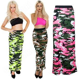 New-Womens-Ladies-Bodycon-Camo-Camouflage-Print-Long-Tube-Gypsy-Maxi-Skirt-Dress