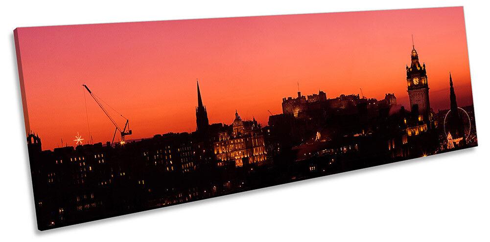 Edinburgh Skyline rot Sunset Bild PANORAMA CANVAS Wand Kunst Drucken