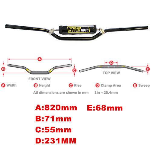 TDRMOTO 7//8 Inch Handlebar Honda CRF150R Yamaha YZ85 RC Black