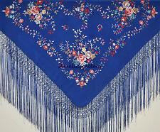 Envoltura de noche de boda bordado a mano de seda flamenco español Piano Chal, Mantone