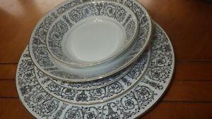 Fine China Dinnerware set Laurent COVENTRY JAPAN S/6 Black White Elegant Urn 33p