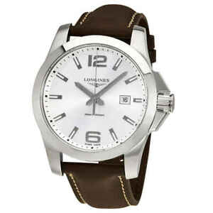 Longines-Conquest-Silver-Dial-Brown-Leather-Men-039-s-Watch-L37604765