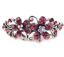 New Pink Rhinstones Crystal Silver Tone Metal flower hair claws clips Barrette