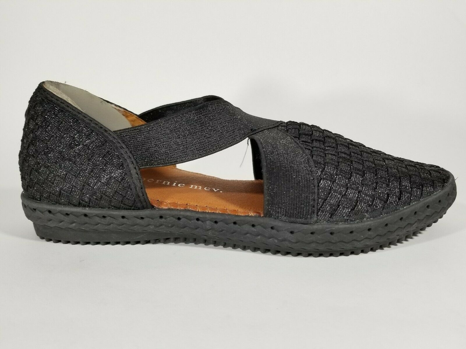 Bernie Mev Black Woven Flats X Straps Slip On Casual Comfort Women shoes 38 7-7.5