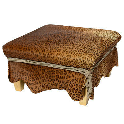 Ronn Jaffe Designed Mid-Century Modern Stencil Leopard Ottoman Cocktail Table