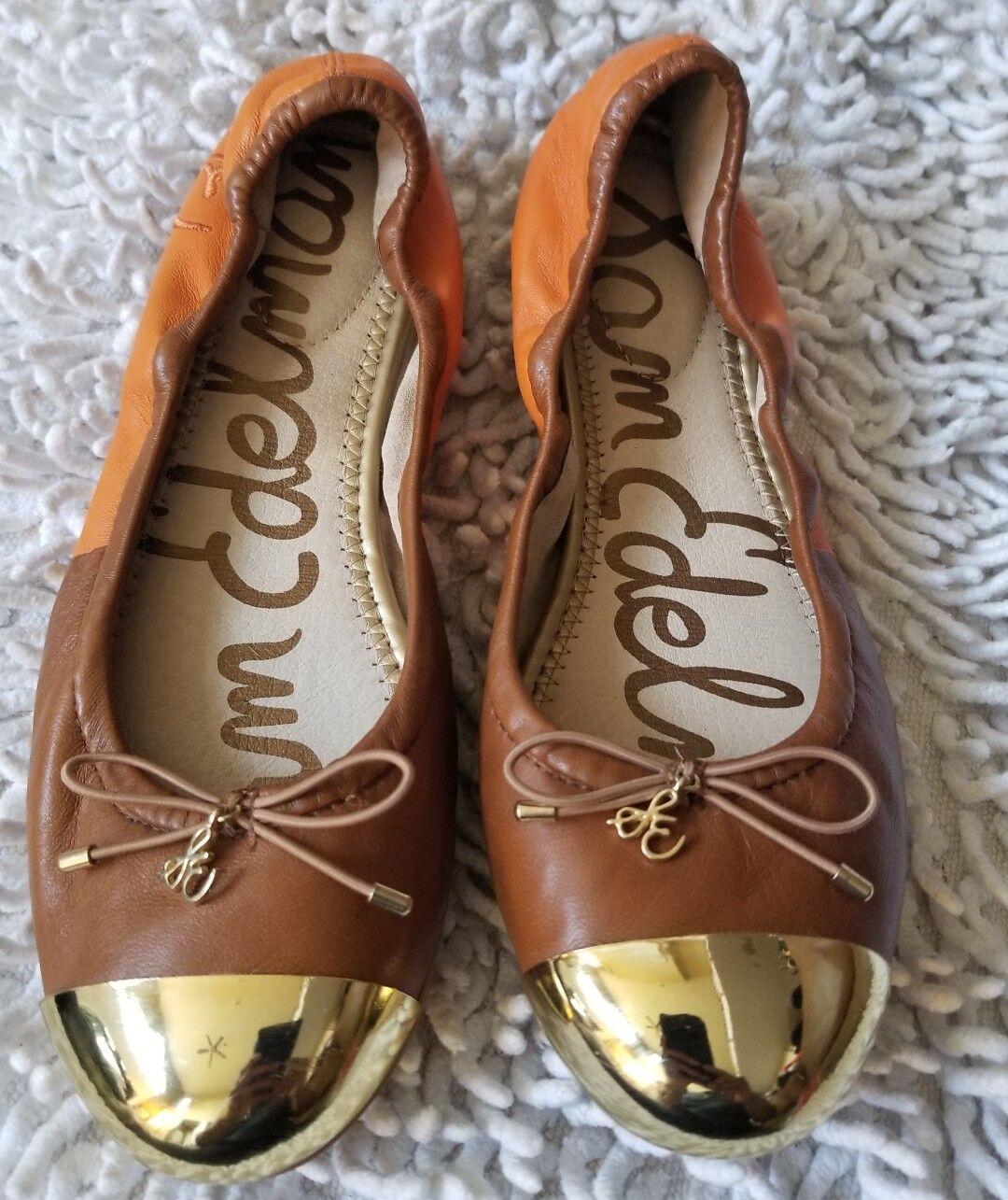 SAM EDELMAN FAIRLEIGH orange   brown leather cap toe ballet flats sz. 6