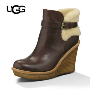 df1814a10814 UGG® AUSTRALIA ANAIS MAHOGANY LEATHER WEDGE BOOTS UK 8.5 EUR 41 USA ...