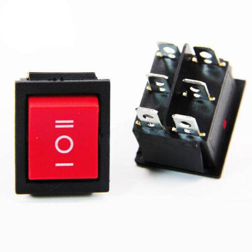 28×22MM 6Pin ON//OFF Rectangular Latching Rocker Switch LED SPST SPDT DPST 250V