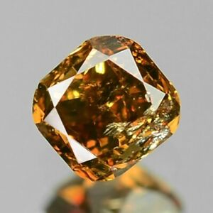 0-11-Carat-NATURAL-Sparkly-Cognac-ORANGE-DIAMOND-LOOSE-for-Setting-Cushion-Cut