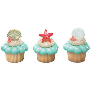 Set Of 12 {ocean Popular Brand Shell Beach Party Cupcake Topper Rings Seashell} Pool Sand