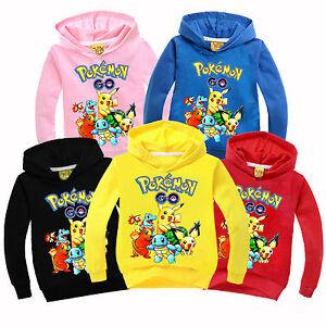 Kinder-Jungen-Maedchen-Pikachu-Kapuzenpullover-Hoodie-Jacke-Sweatshirt-Pulli-Tops