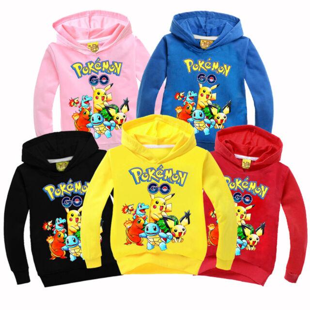 Pokemon Go Kids Boys Girls Pikachu Hoodies Long Sleeve Pullover Sweatshirt Tops