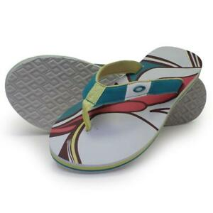 c874d344af48 Oakley TREATY Sandals White Print Size 10 US Womens Beach Flip Flops ...