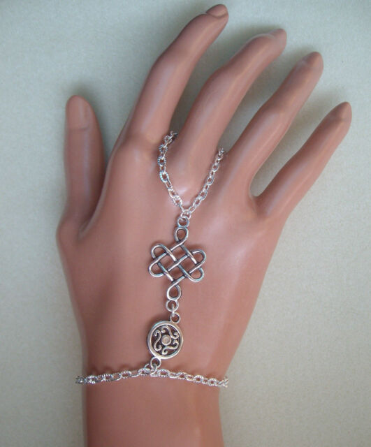 Celtic Knot Slave Chain Hand Harness Silver Plated Bracelet