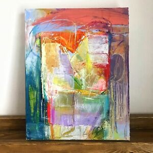 """Original Abstract Contemporary Acrylic Painting On Canvas 11 X 14"""" Signed Art"""