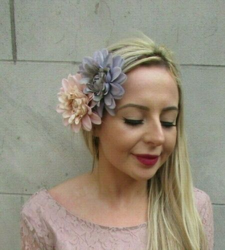 Blush Nude Light Pink Grey Double Flower Hair Clip Fascinator Floral Races 7162
