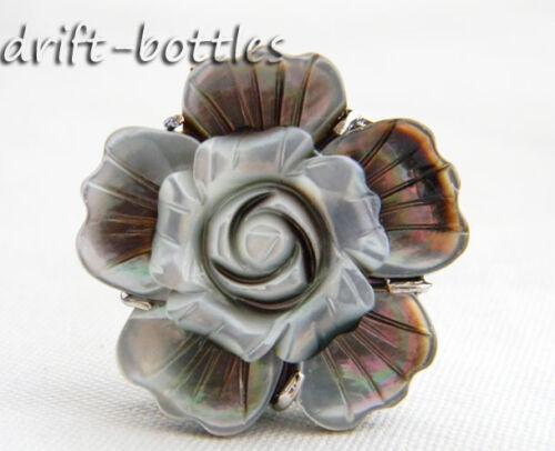 8# 32mm Sea Shell Flower Adjustable Ring