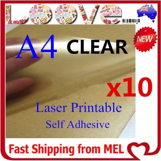 10x A4 Clear Transparent Glossy Self Adhesive Sticker Paper Label Laser Print