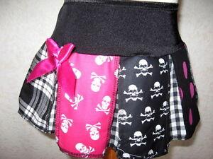 New Baby Girls Black White Purple Skulls Tartan Check Gothic Skirt Gift Party