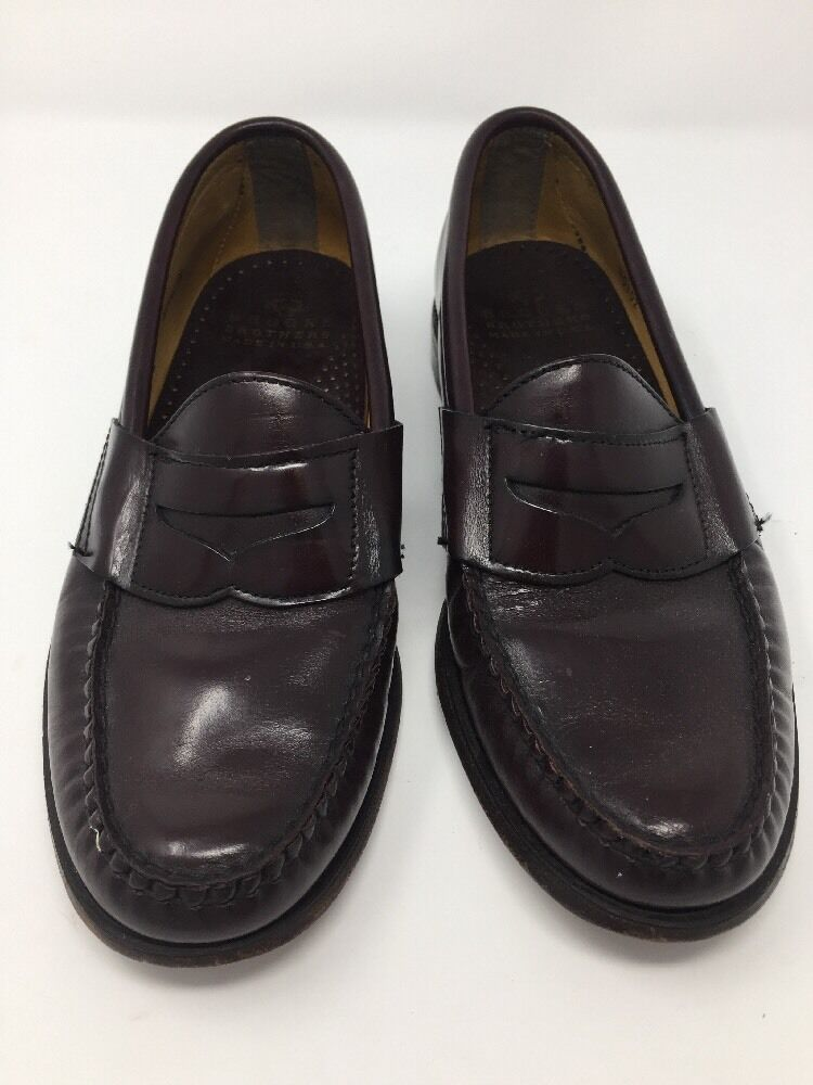 Brooks Bredhers Burgundy Leather Penny Loafers Size Men's 7 D Made in USA