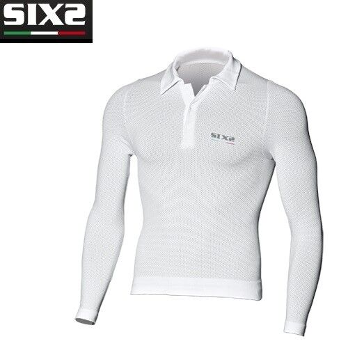 Maglia Polo Maglietta maniche lunghe Bike Ciclismo Bici SIXS WHITE CARBON POL2