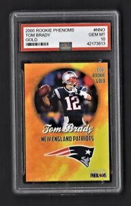 2000-00-Tom-Brady-Rookie-Phenoms-Gold-Graded-10-New-England-Patriots-RC-Card-Hot