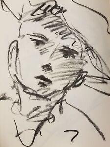 "JOSE TRUJILLO - Original Charcoal Paper Sketch Drawing 11X17"" SIGNED Portraiture"