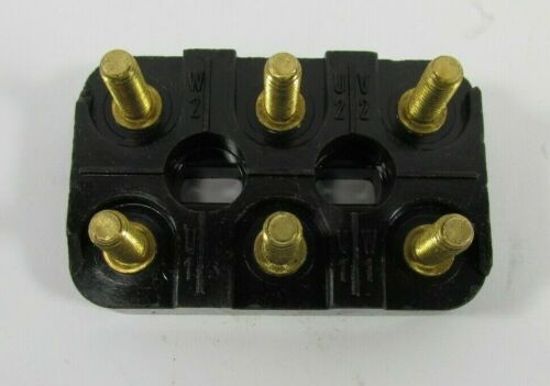 FIAME Electric Motor Terminal Connection Block 70mm x 45mm 3-Pole Brass 6-Stud