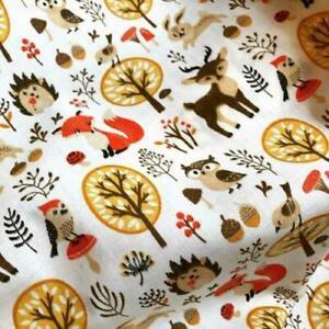 WOODLAND-FABRIC-Fox-Deer-Owl-Hedgehog-Cheap-Fabric-by-Metre-Cotton-Blend-SALE
