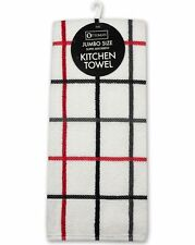 Terry Cotton Tea Towels - 4 Pack - Red / Yellow / Grey / Brown