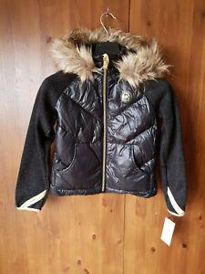 RRP-90-Michael-Kors-Ragazze-Cappotto-Nera-Trapuntata-Puffer-Down-pelliccia-jacket-7-8-anni