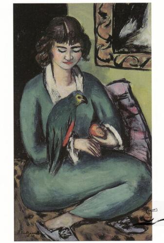Postcard Art Max Beckmann Quappi mit Papagei Kunstkarte