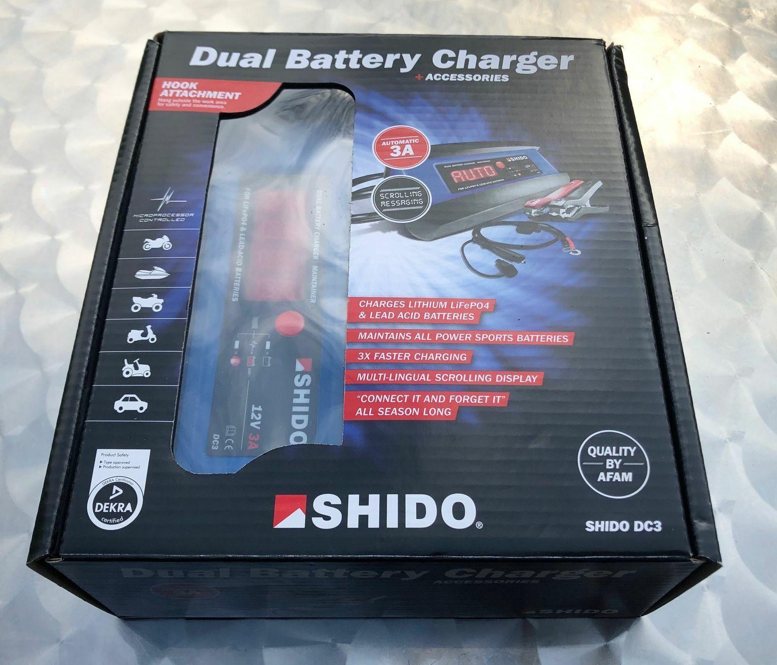 Shido DC3 Dual Batterie Ladegerät 12V 3 A, Blei Säure, AGM