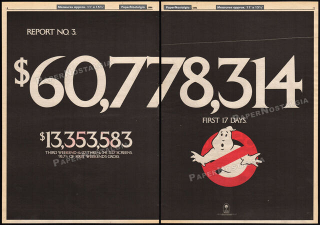 GHOSTBUSTERS__Original 1984 Trade AD promo / poster__First 17 Days__BILL MURRAY